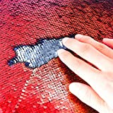 TRLYC 4FTX6.5FT Red and Silver Mermaid Wedding Sequin Background Sparkly Curtain for Event/Wedding/Banquet