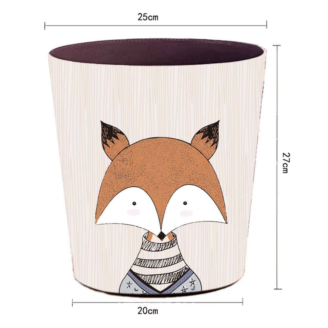 Foxom 10L PU Leder Cartoon Tier M/ülleimer Abfalleimer M/üllsammler Papierkorb Motif f/ür Kinderzimmer//B/üro//K/üche//Schlafzimmer Eule