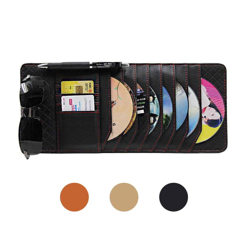 CD Sun Visor Organizer for Car Detachable Portable Multi-Function PU Lambskin with 10 CD Slots + 4 Credit Cards Pockets + 1 Sunglasses Holder + 1 Pen Holder (Black)