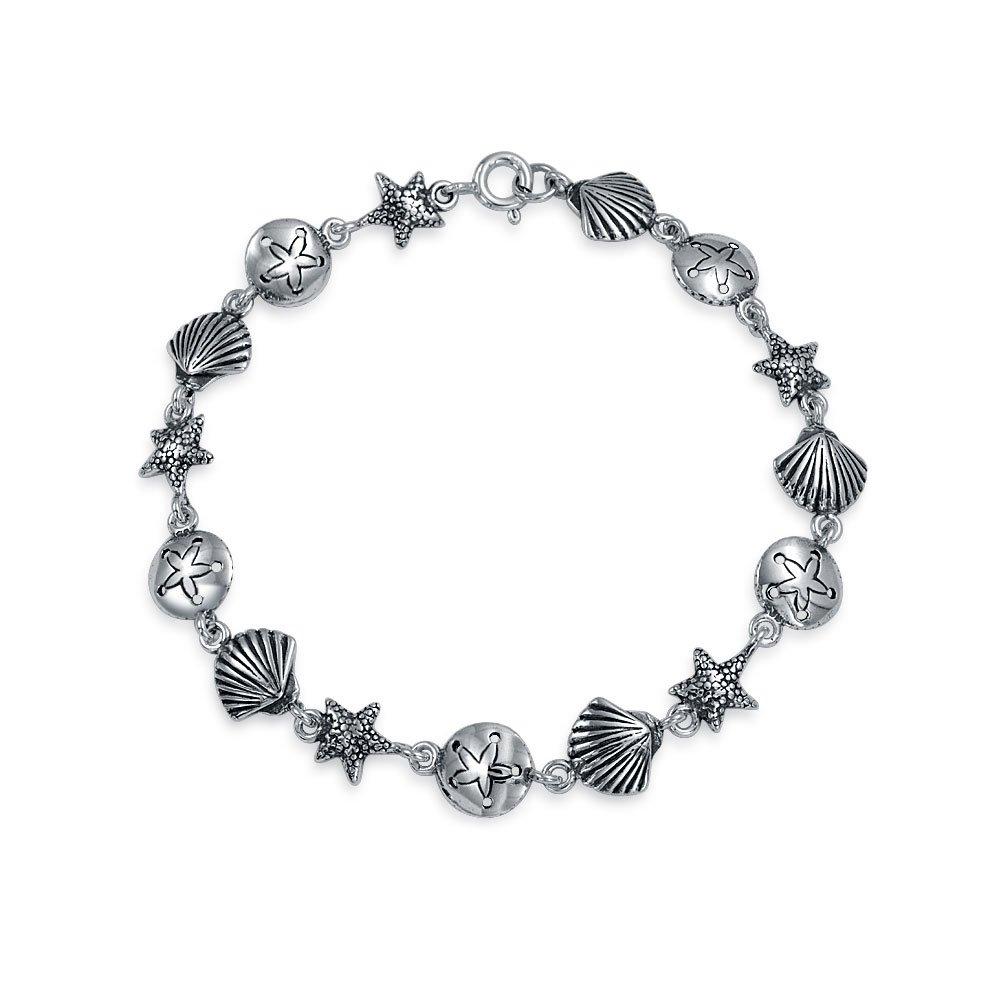 Bling Jewelry Sand Dollar Shell Starfish Links Nautical Bracelet Silver PMR-C10904L75