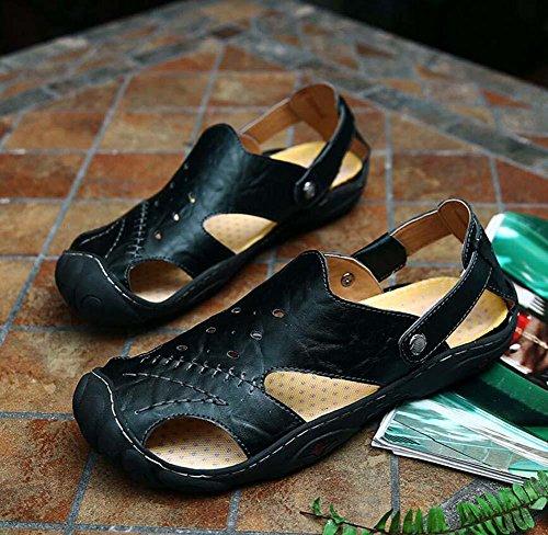Onfly Hombres Chicos Estilo británico Dedo del pie cerrado Cuero Casual Sandalias Zapatillas Antideslizante Respirable Para caminar Al aire libre Sandalias Zapatos de agua Zapatillas de deporte ocasio Black
