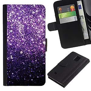 Samsung Galaxy Note 4 IV / SM-N910 Modelo colorido cuero carpeta tirón caso cubierta piel Holster Funda protección - Glitter Purple Shiny Dark Bling