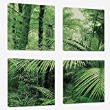 zen rain oil - Printed Oil Painting 4 Panels - Rainforest Decorations - for Home Decorations - Living Room - Hotel - 24