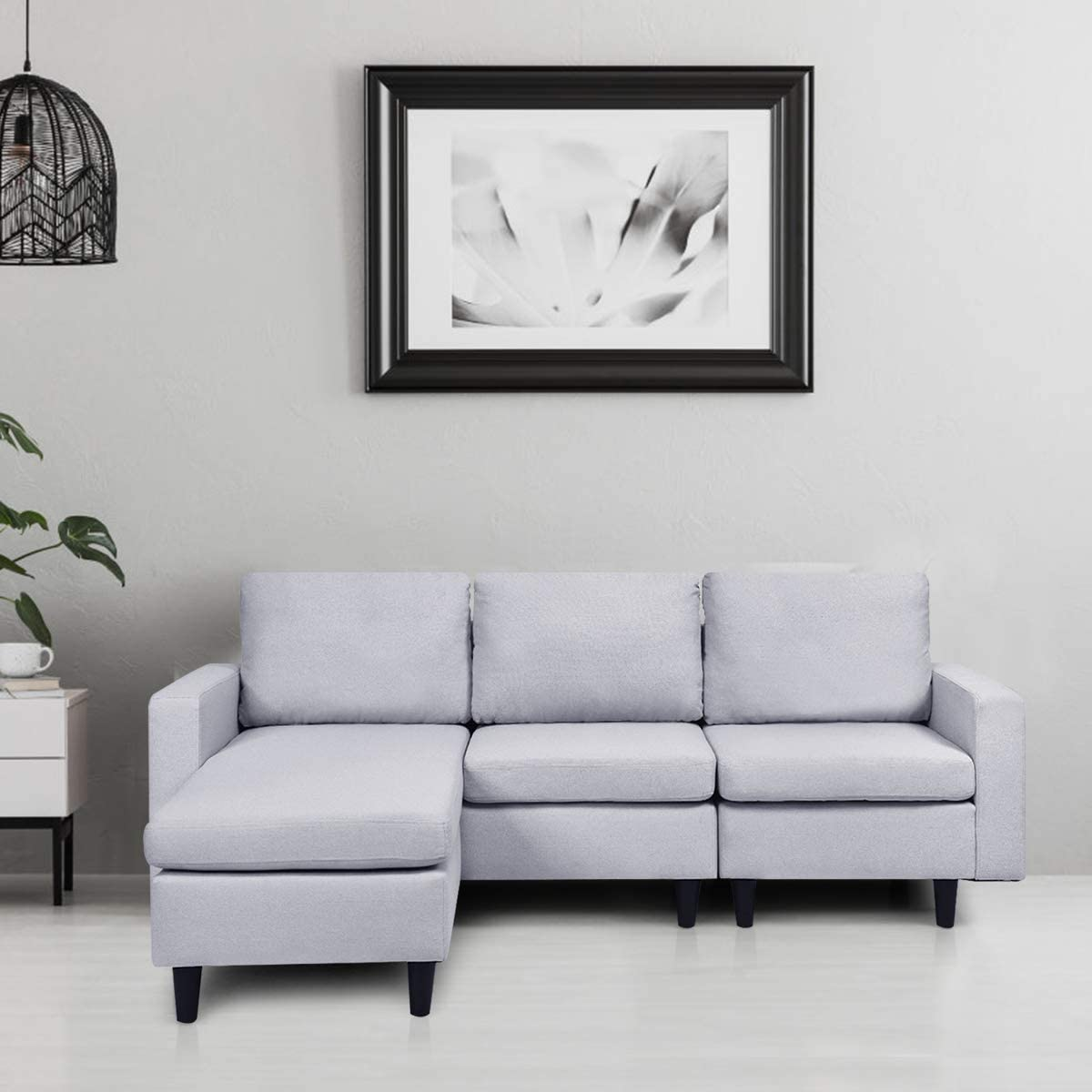 Giantex Convertible Sectional Sofa Couch with Reversible Chaise, L-Shaped Sofa Couch for Small Space Apartment, 3 Piece Linen Fabric Loveseat Couch Sets (Gray 2)