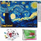 5D DIY Starry Night Diamond Painting By Number Kits For Adults Round Full Drill Crystal Rhinestone Van Gogh Embroidery For Canvas Wall Decoration 12X16 Inches