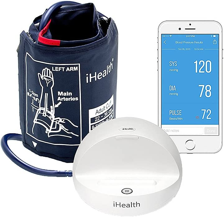 iHealth Ease Wireless Bluetooth Blood Pressure Monitor, Digital Upper Arm Blood Pressure Cuff, BP monitor for iOS & Android Devices (Standard Cuff), Mobile Heart Monitor Blood Pressure Machine
