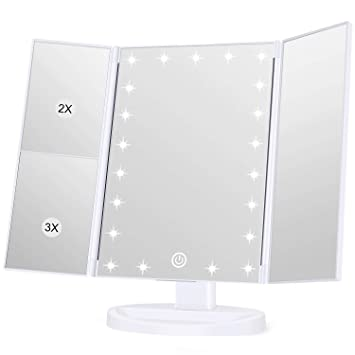 Koolorbs Makeup 21 Led Vanity Mirror With Lights, 1x/2x/3x Magnification, Touch Screen Switch, 180 Degree Rotation , Dual Power Supply White by Koolorbs