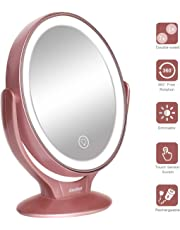 LED Lighted Makeup Vanity Mirror Rechargeable, 1x / 7x Magnification Double Sided Magnifying Mirror with Dimmable Touch Screen, Portable Illuminated Mirror for Travel, Bathroom, Rose Gold