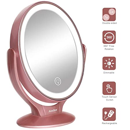 Led Lighted Makeup Vanity Mirror Rechargeable,1x/7x Magnification Double Sided 360 Degree Swivel... by Aesfee