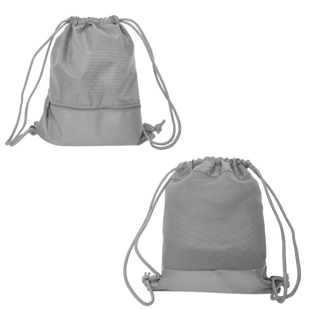 Drawstring Bag Sports Gym String Backpack Waterproof Cinch Sack Sackpack Gymsack-Blue-L