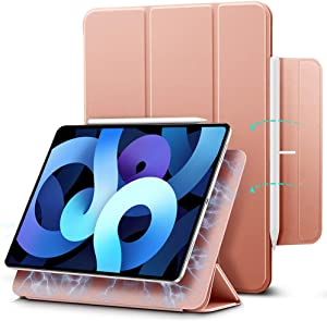 ESR Magnetic Case for iPad Air 4 2020 10.9 Inch / iPad Pro 11 2018 [Convenient Magnetic Attachment] [Trifold Smart Case] [Auto Sleep/Wake Cover] Rebound Series, Rose Gold