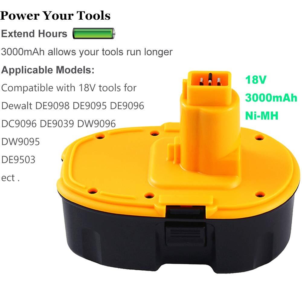 2x 18V 3000mAh NiMH Battery for DC9096//DW9098//DE9039//DE9503//DE9098