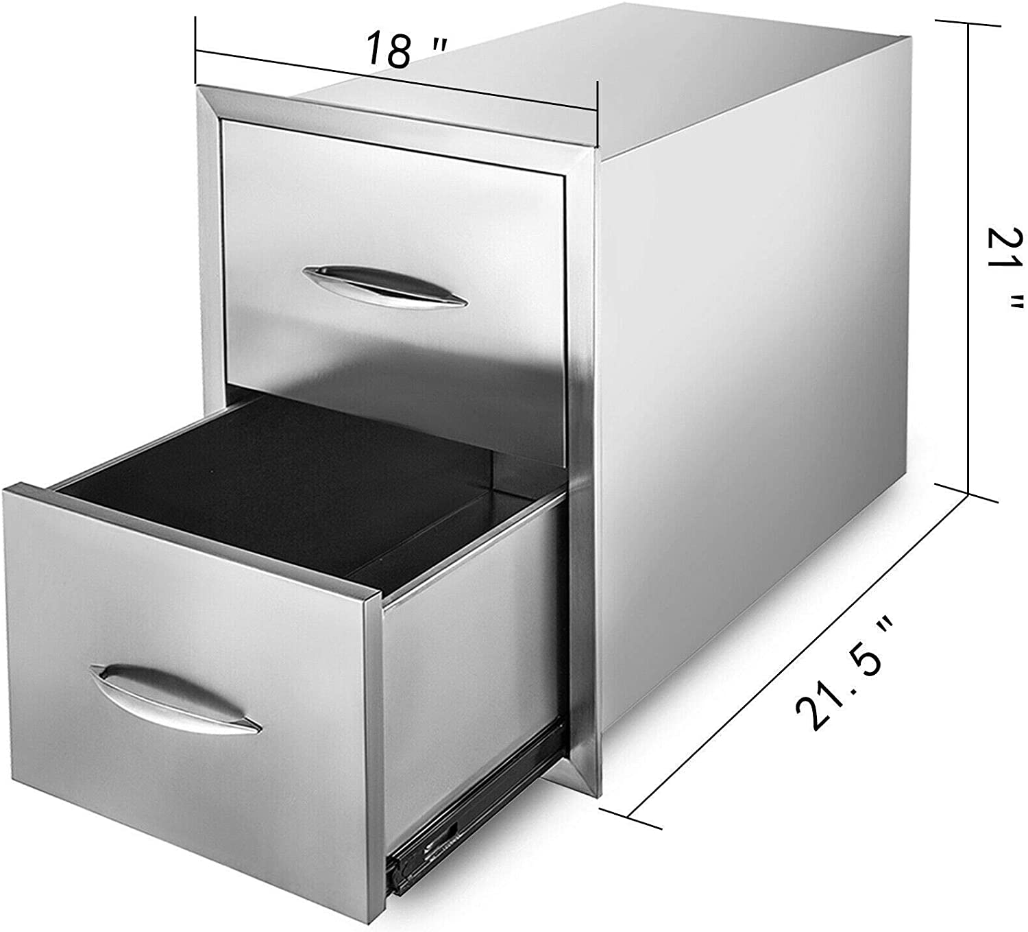 BuoQua 14 x 22.8 x 14.38 Inch Outdoor kitchen Drawer Stainless Steel Double Access Drawer BBQ Island Drawer Storage with Chrome Handle Flush Mount Sliver