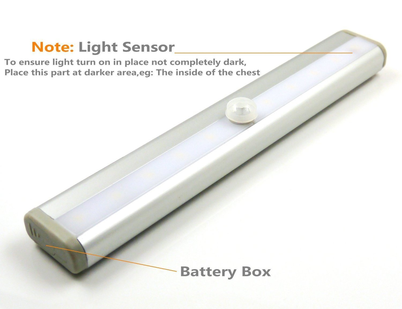 Led Sensor USB Rechargeable Wireless Motion Sensing Infrared Human Body LED Tube Light Bar for Dressing Table Warm White Lamp
