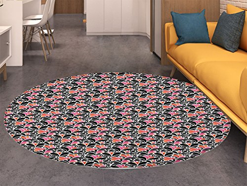 Abstract Round Area Rug Carpet Paisley Style Pattern of Water Splashes Ombre Motifs with Floral Influences Living Dining Room Bedroom Hallway Office Carpet Coral Pink Black