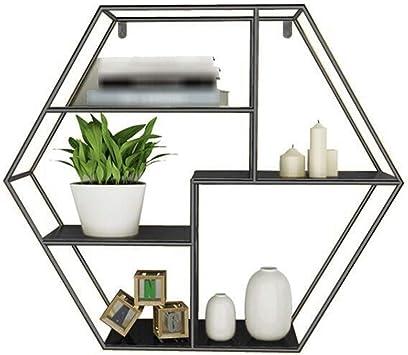 Floating Shelves Decorative Round Shelf Metal Wall Mounted Multi Shelf Storage Organiser Unit Display Rack Hexagon Wall Shelf Unit