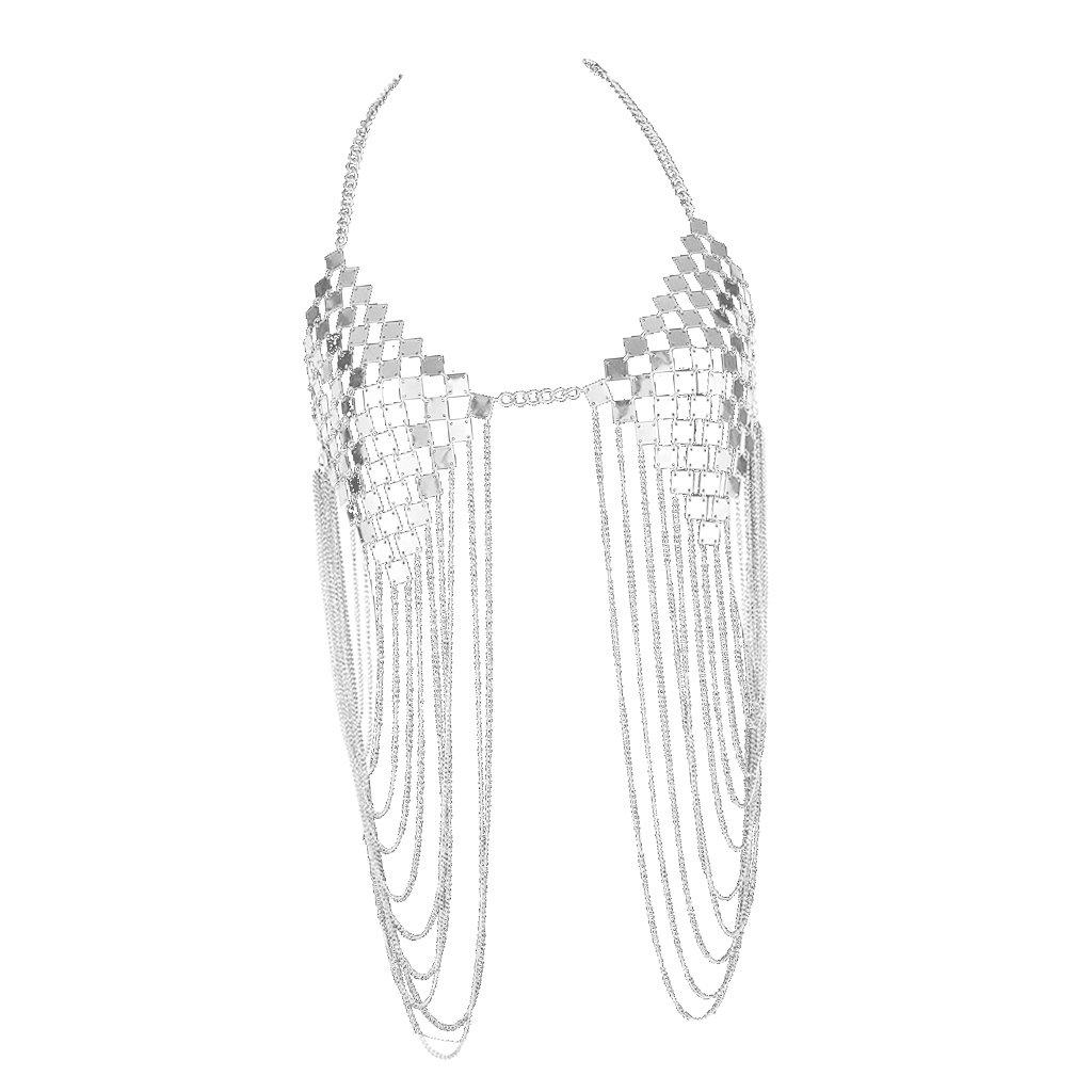 Baoblaze Sexy Chest Chain Necklace Fashion Women Body Jewelry Bra for Summer Beach Bikini - Silver