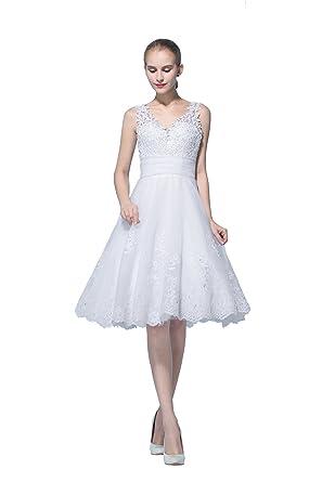 Short Lace Appliques V Neck A Line Civil Wedding Dress at Amazon ...