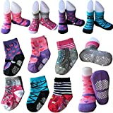 6 Pairs Non Skid Baby Girls Toddler Walker Socks Anti Slip Stretch Knit Ankle Cotton Shoe Socks Slippers Sneakers Crew Socks With Grip for 12-24 Months