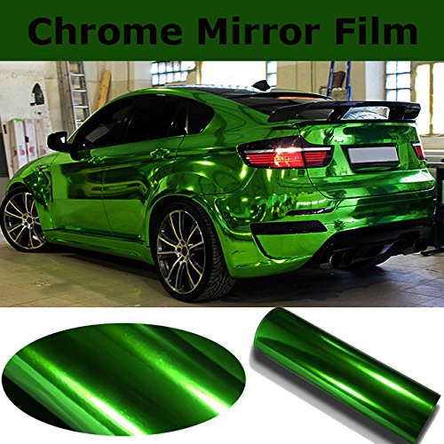 DIYAH Gloss Chrome Mirror Vinyl Car Wrap Sticker with Air Release Bubble Free Anti-Wrinkle 12' X 60' (1 FT X 5FT) (Green)