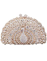 Santimon Women Clutch Luxury Crystal Peacock Evening Clutch Bags with Removable Strap 9 Color