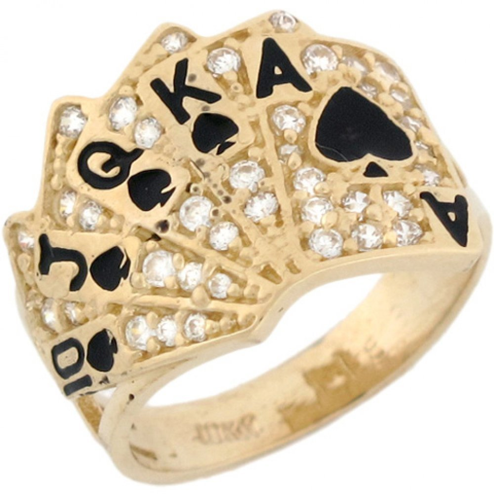 10k Real Solid Gold CZ Royal Flush Poker Card Enamel Lucky Unisex Ring by Jewelry Liquidation