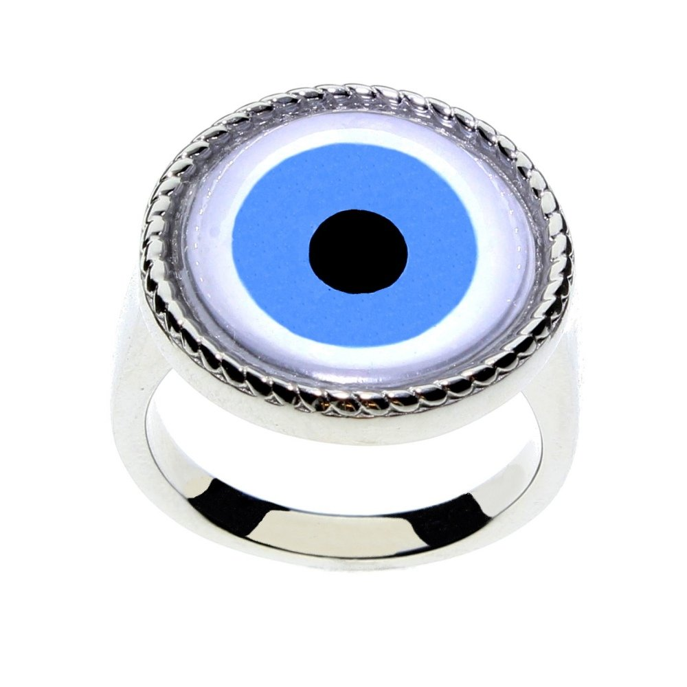 Steel Dragon Jewelry Men or Women's Glass Evil Eye Statement Ring by (Evil Eye, 6)