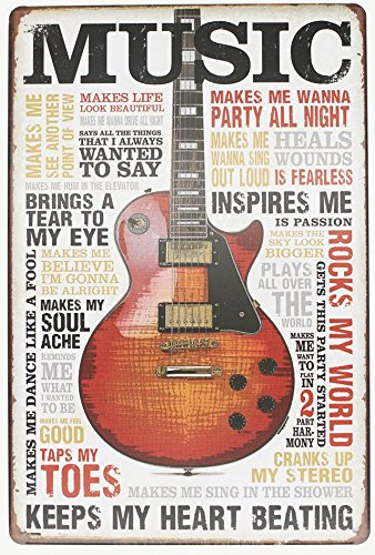 Music Inspires Me, Metal Tin Sign, Vintage Poster Plaque Living Room Bedroom Study Bar Home Wall Decor]()