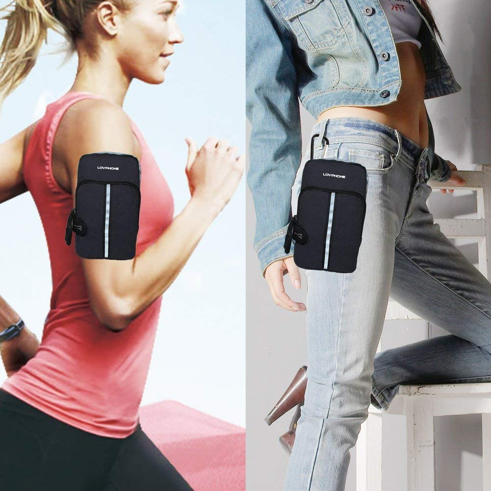 LOVPHONE Sports Armband, Double Pockets Phone Running Armband for iphone X/8/8 Plus/7/7 Plus, Samsung Galaxy Note 8/S8/S8 Plus/S7, Water Resistant (Black, 7.0-12.8inch)