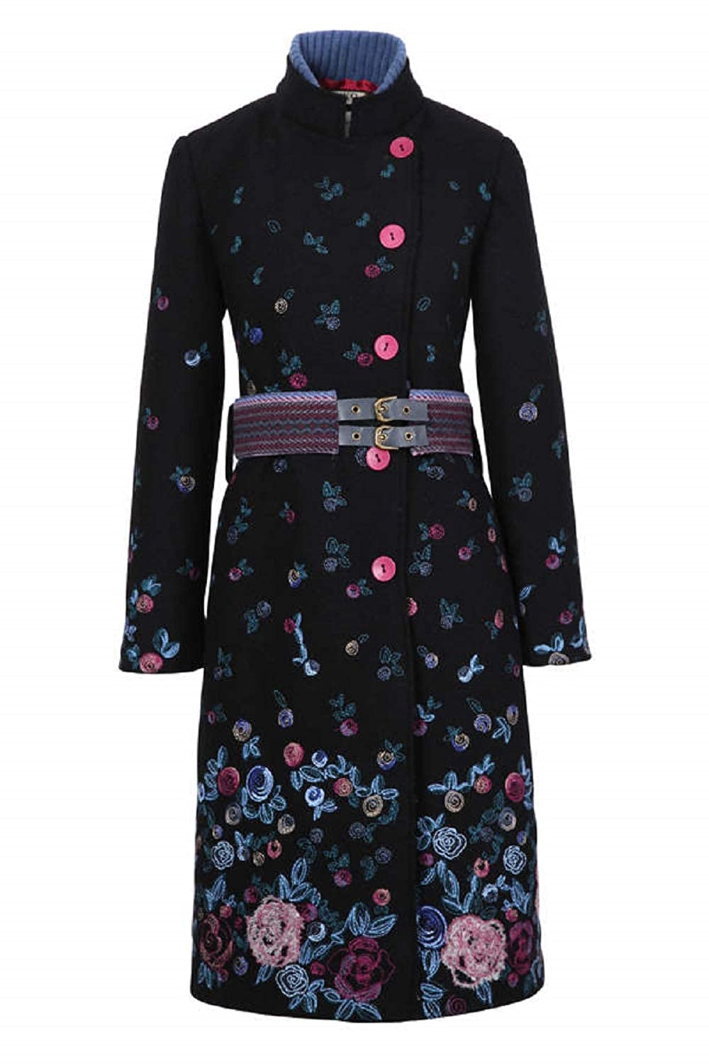 IVKO Boiled Wool Coat with Embroidery 82501 (Black)