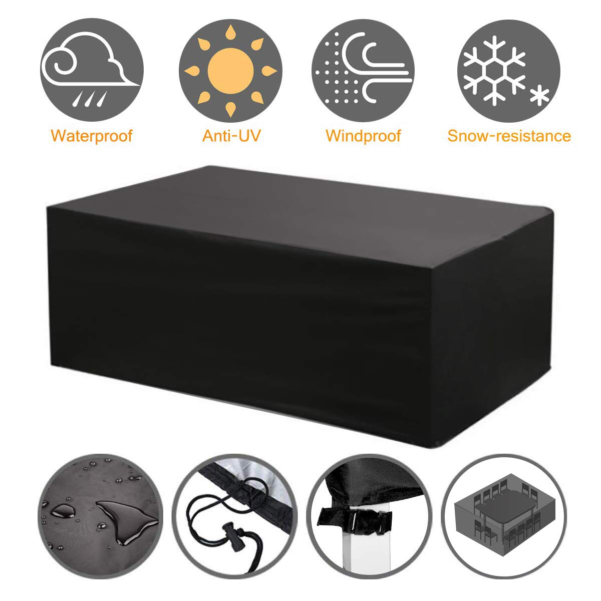 NASUM Patio Furniture Cover Set, 315x160x74cm Outdoor Lounge for Sofa Dining Table and Electrical Equipment With Waterproof and UV-Resistent 420D Oxford Cloth(Black and Silver) black xl