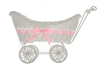 Cesta de mimbre de LIVIVO ® con diseño de carrito de bebé, con manillar, ruedas y un colorido lazo de satén, perfecto como regalo: Amazon.es: Hogar