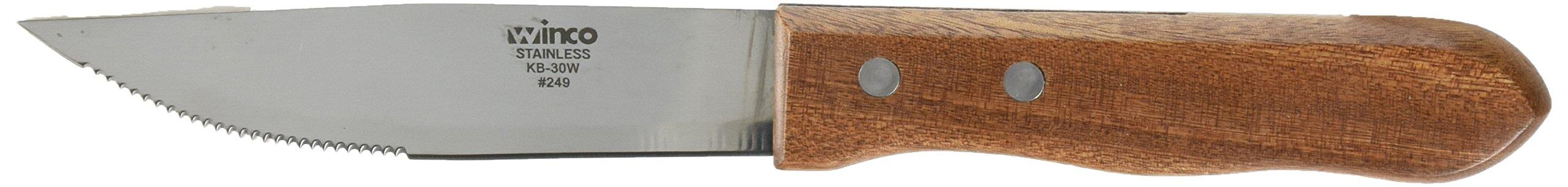 Winco KB-30W Steak Knives, Heavy-Duty Blade with Wood Handle