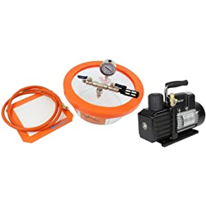 Best Value Vacs 3 Quart Pyrex Vacuum Chamber and VE115 3CFM Single Stage Vacuum Pump Kit