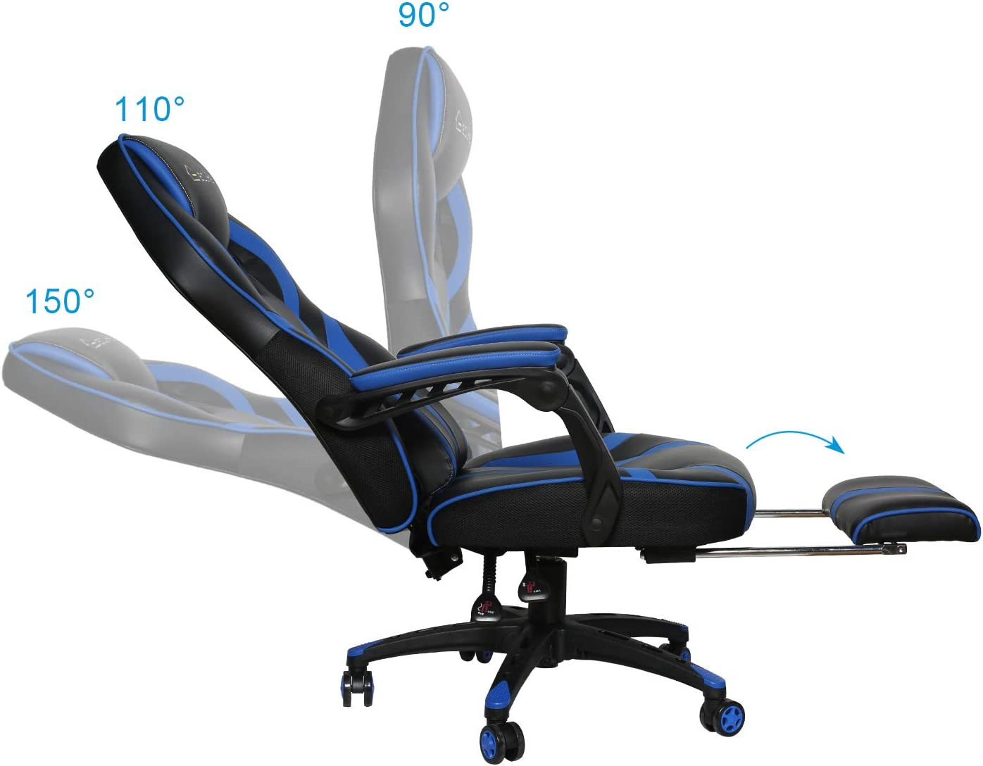 OF-D01, Black eclife Gaming Chair Office Computer Chair Game Video Chair High Back Ergonomic Backrest Seat Adjustable Swivel Task Chair E-Sports Chair with Lumbar Support and Footrest