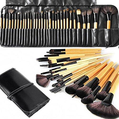 eBoTrade 32 Pcs Professional Rod Makeup Brush Cosmetic Set Kit with Case (Beige)