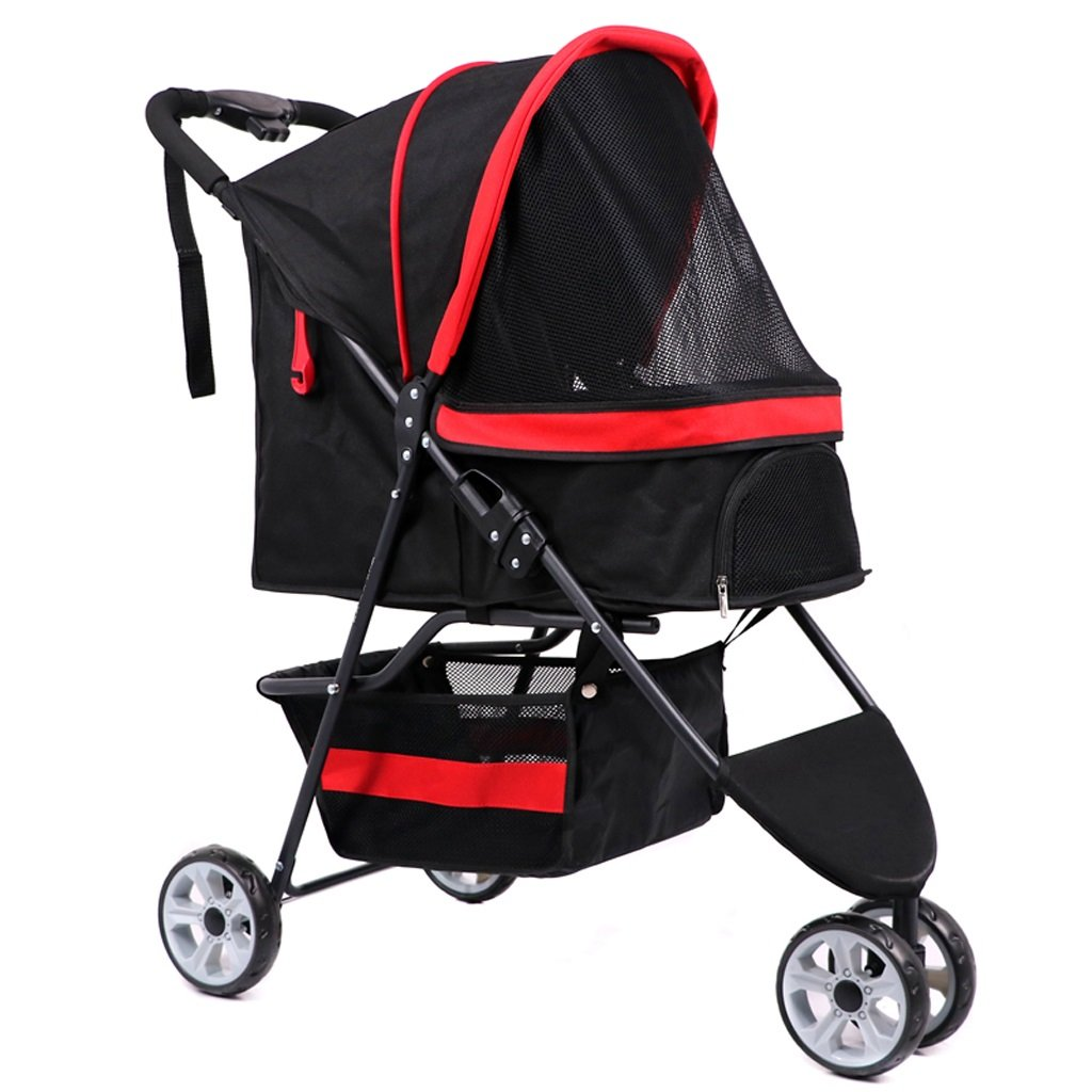 RED Pet Stroller, Small and Medium-Sized Dog, Cat, Doggie, Outgoing General, Large Dog Car, Detachable, Folding, Double, Dog Cart (color   RED)