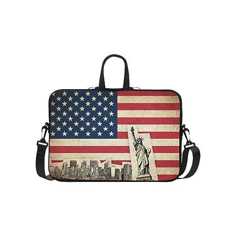interestprint, diseño de bandera estadounidense vintage bolsa de funda para ordenador portátil, diseño de la Estatua ...