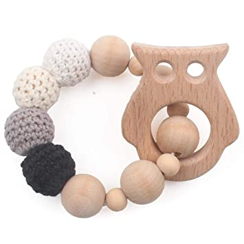 Wooden Beech Ring Silicone Beads Teether Rattles Baby Teething Stroller Toy Gift