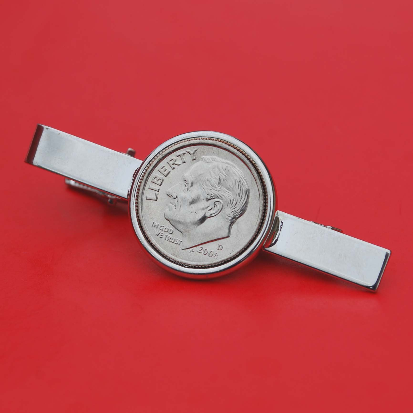 US 2008 Roosevelt Dime Gem BU Uncirculated 10 Cent Coin Silver Plated Tie Clip Bar Pin NEW