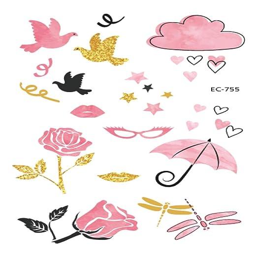 5piezas Pegatinas de Tatuaje Rosa para niñas Fiesta de cumpleaños ...