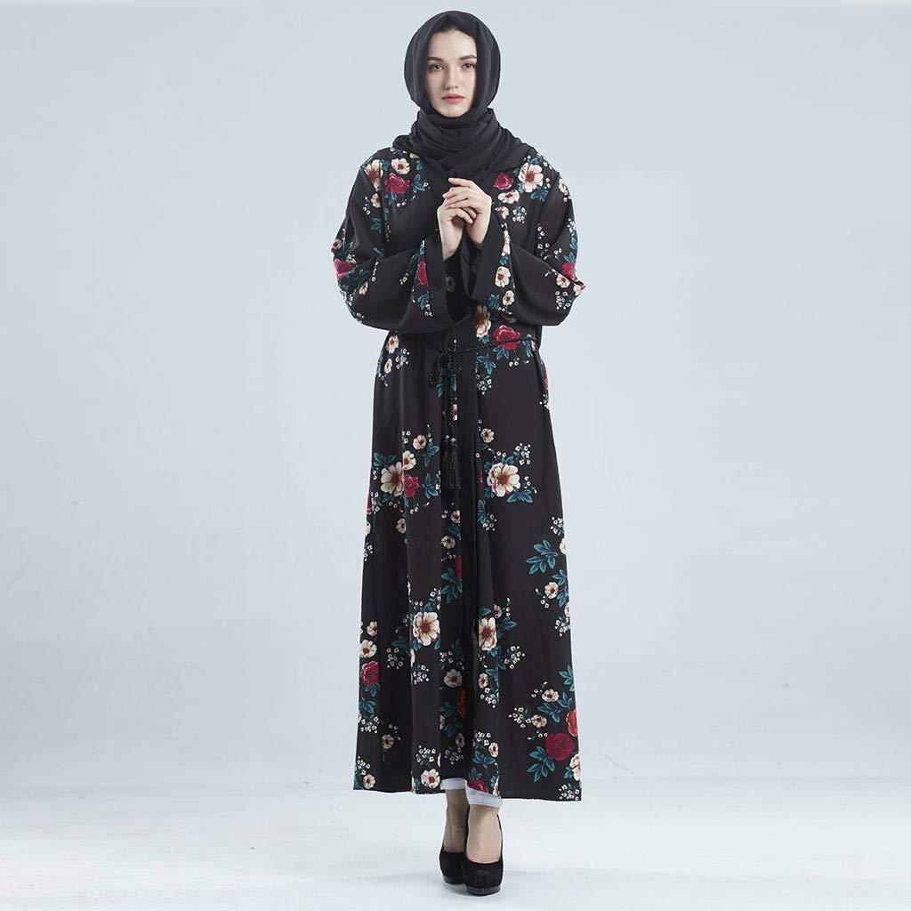 Sunyastor Women Islamic Dress Dubai Style Open Front Kaftan Abaya Muslim Cardigan Ethnic Dress Long Maxi Dress Jilbab Robe