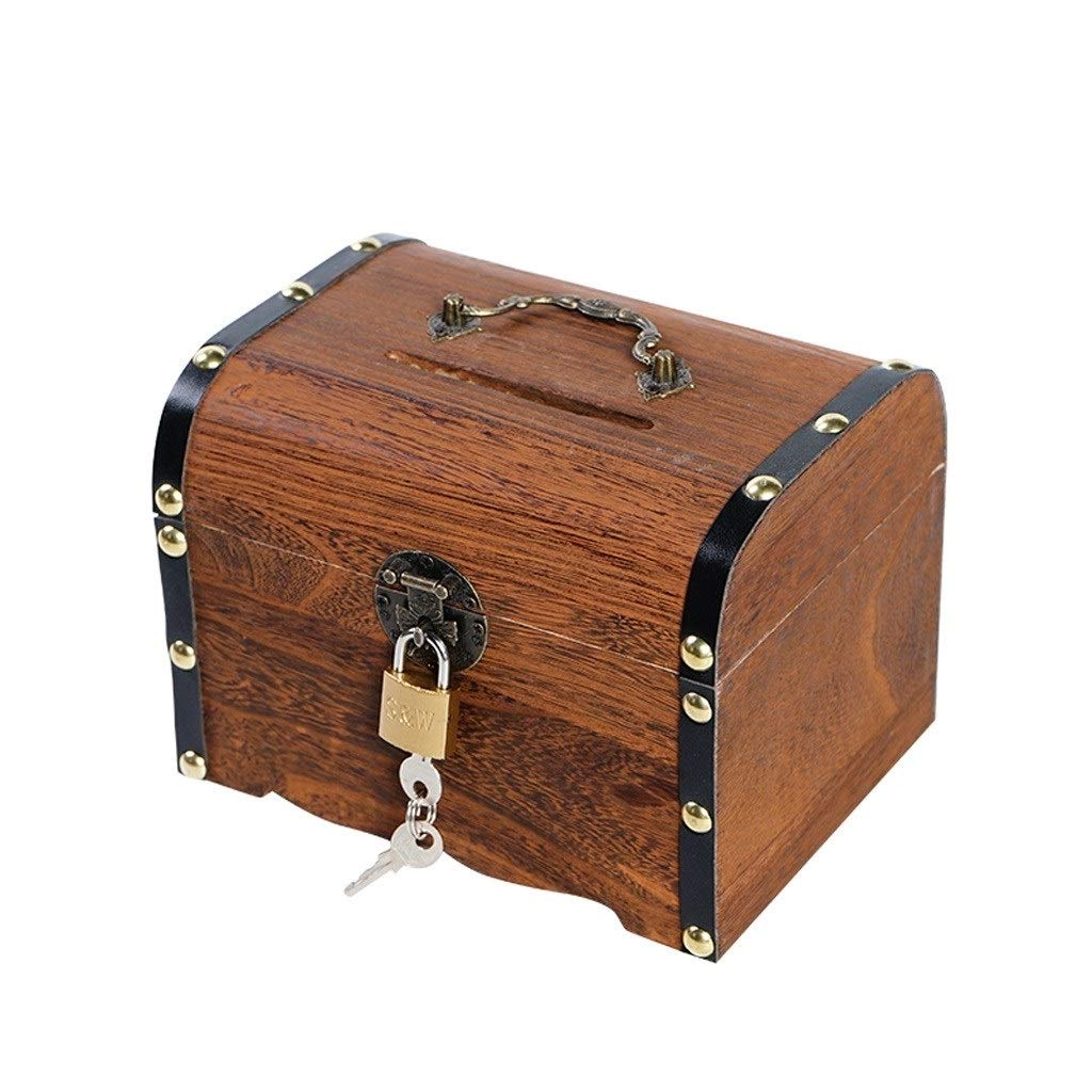 Wood Piggy Bank Vintage Treasure Chest Child Piggy Bank Lock Paper Money Boy Piggy Bank Can Be Taken Adult Cash Box ( Size : Large ) by DUOER home-Money Banks