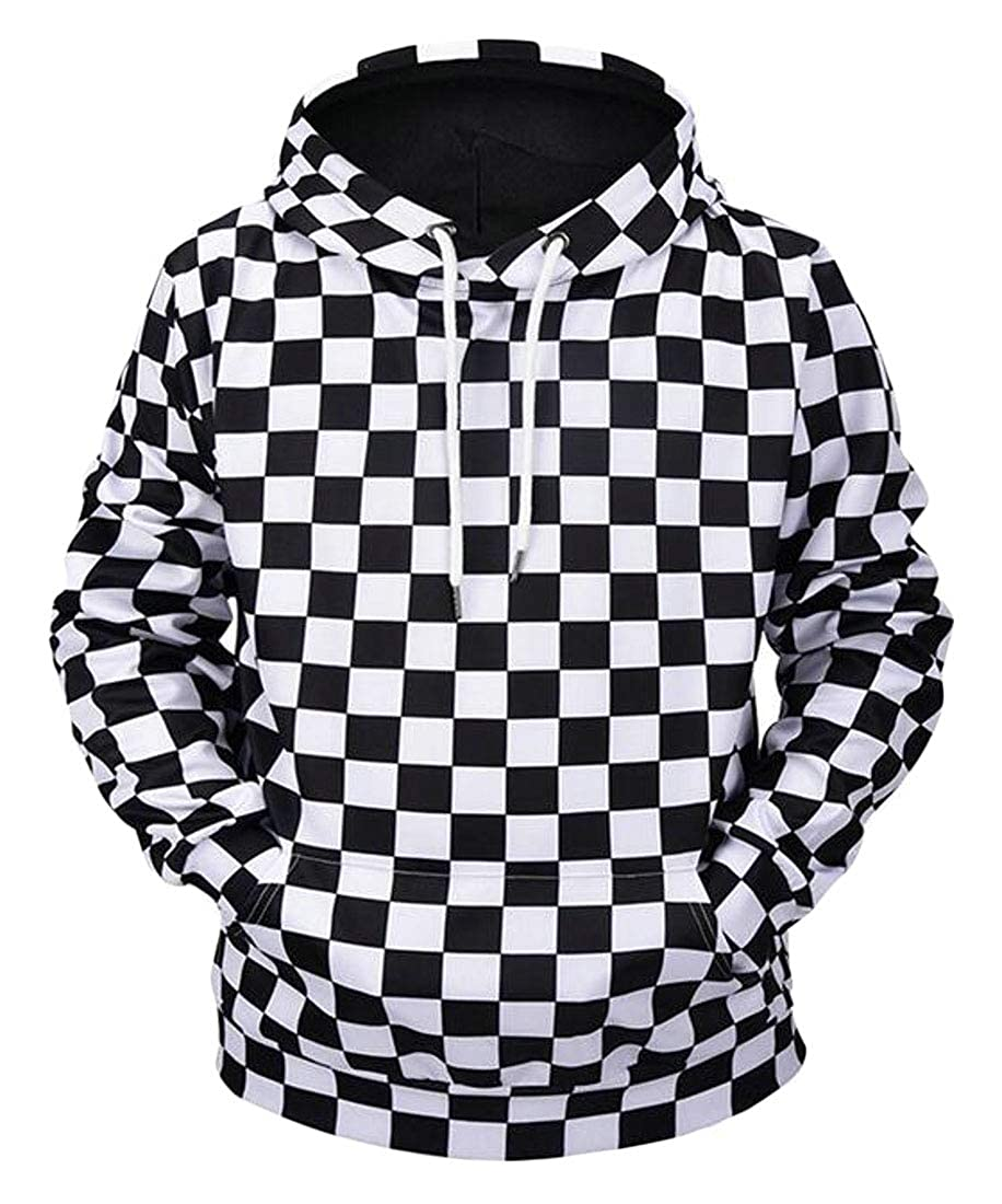 Wofupowga Men Autumn Hooded Pullover Plaid Casual Sport Pocket Sweatshirt