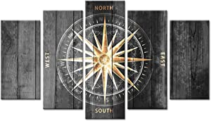 ZingArts 5 Pieces Vintage Grey and Gold Canvas Wall Art Nautical Compass Directions Painted on Wood Design Giclee Print Gallery Wrap For Modern Home Office Bedroom Decoration Ready to Hang