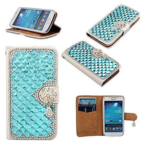 xhorizon ZA5 Blue Shining Bling Glitter Charming Diamonds Rhinestone Floral Pendant Lichee Pattern Leather Wallet Magnetic Closure Stand Function Phone Case Cover For iPhone 4/4S/5/5S/6/6Plus Samsung S3/S3mini/S4/S4mini/S5/S6/S6 Edge Note 2/3/4 LG G2 G3 Sony Xperia Z3 HTC One M9 with Credit/Bussiness/ID Card Holder & Cash Holder & xhorizon (Lg G2 Phone Case Magnetic)