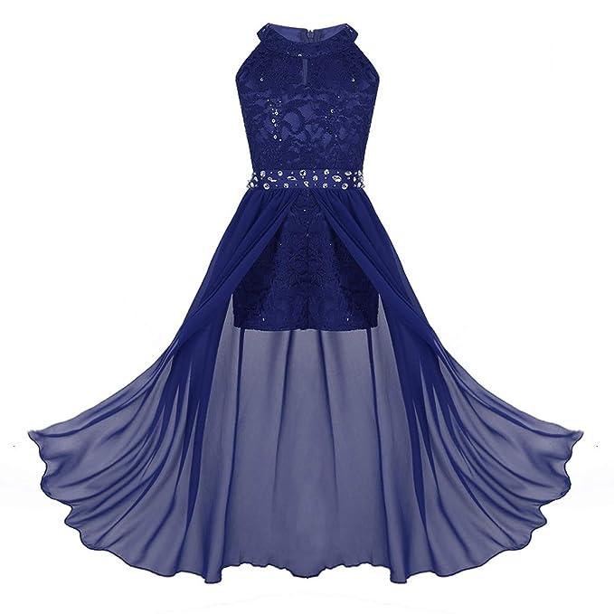 a1dafe84a iiniim Vestido Largo Niña Vestido Floreado Princesa para Fiesta Ceremonia  Bautizo Boda Cóctel Noche Dama de Honor Vestido Infantil Baile Maxi Bola  Pageant ...