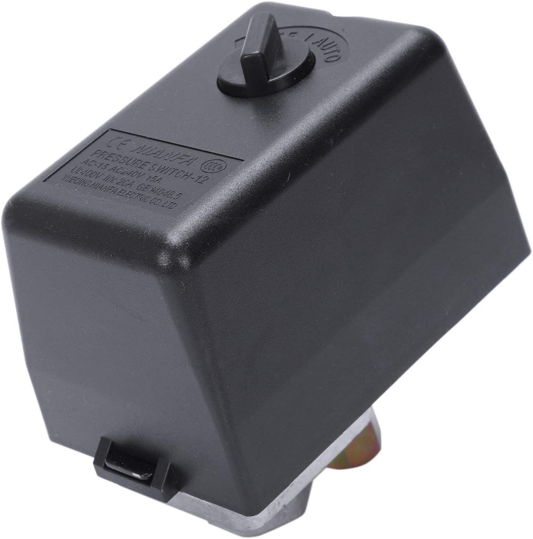 Nrpfell 3 Fases 230V 400V 16A Interruptor De Presi/ón Para Compresor Compresores De Aire Interruptor De Control 130-170 Psi Herramientas De Casa