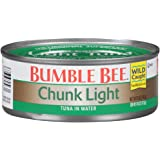 BUMBLE BEE Chunk Light Tuna In Water, Wild Caught, High Protein Food, Gluten Free, Keto, Canned Food, 5 Ounce Cans, 24…