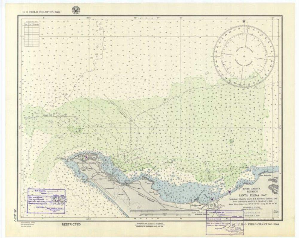 Vintography Reprinted 8 x 12 Nautical Map of South America Ecuador Santa Elena Bay 0 US Navy 77a